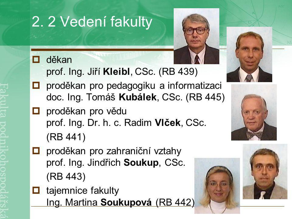 2. 2 Vedení fakulty děkan prof. Ing. Jiří Kleibl, CSc. (RB 439)