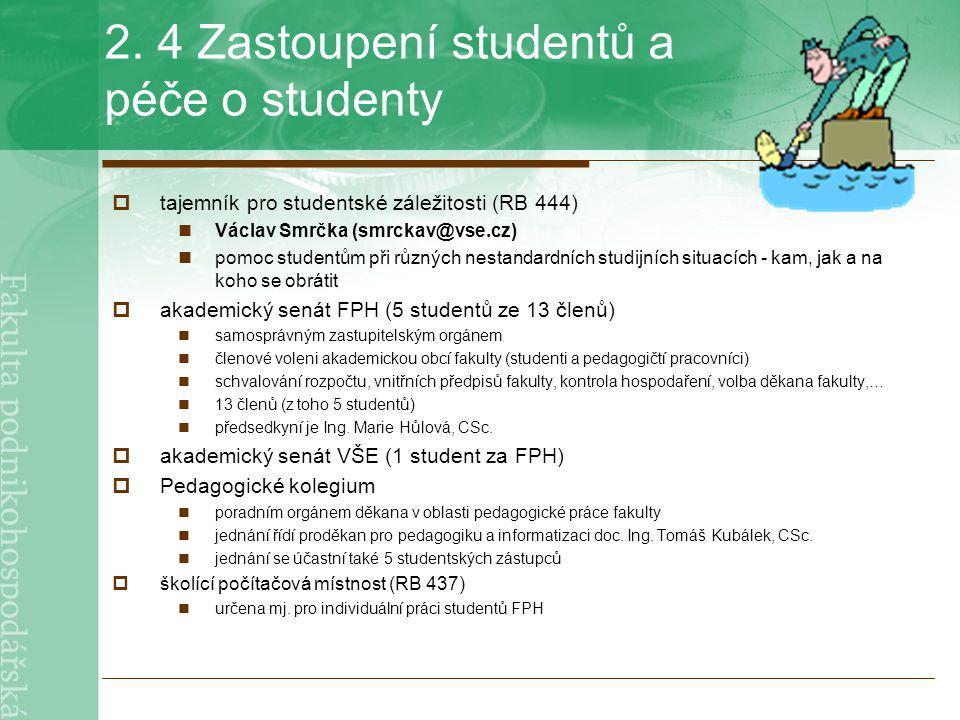 2. 4 Zastoupení studentů a péče o studenty