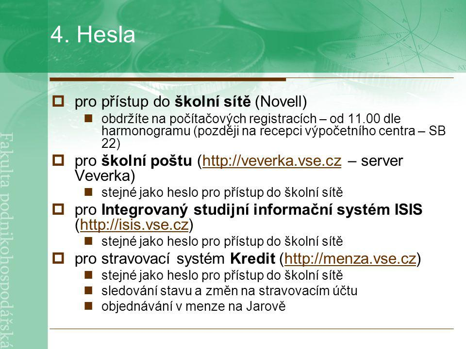 4. Hesla pro přístup do školní sítě (Novell)