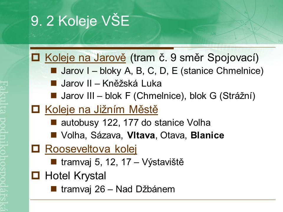9. 2 Koleje VŠE Koleje na Jarově (tram č. 9 směr Spojovací)