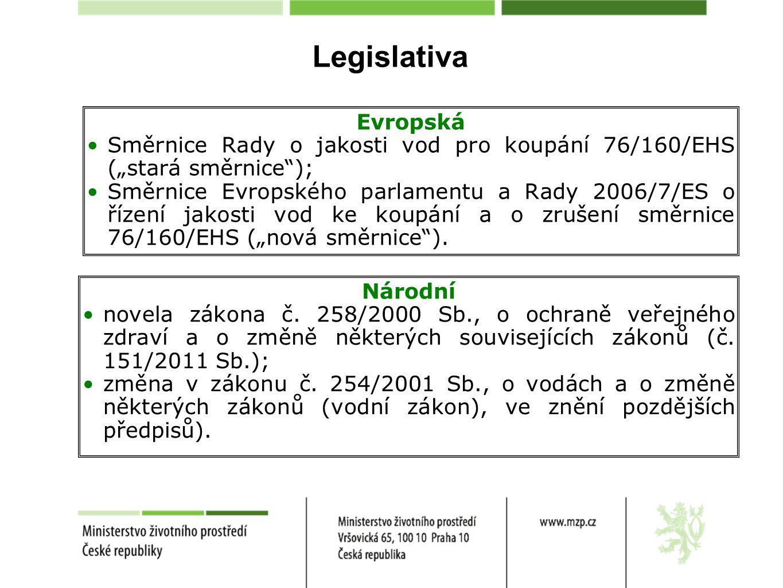 """Legislativa Evropská. Směrnice Rady o jakosti vod pro koupání 76/160/EHS (""""stará směrnice );"""