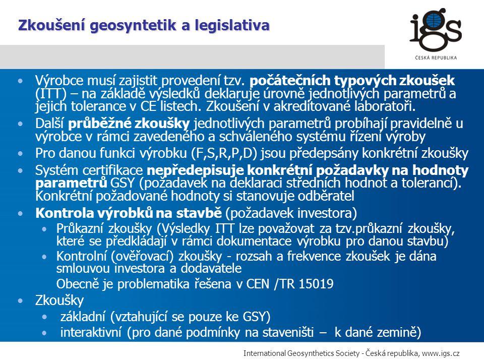 Zkoušení geosyntetik a legislativa