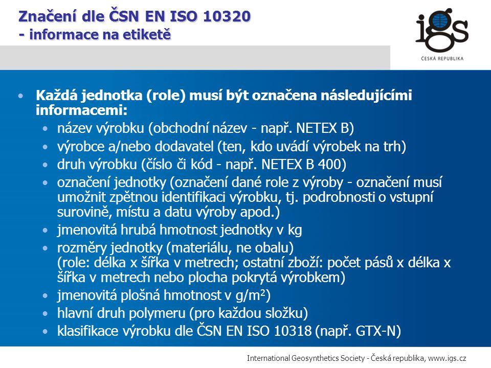 Značení dle ČSN EN ISO 10320 - informace na etiketě