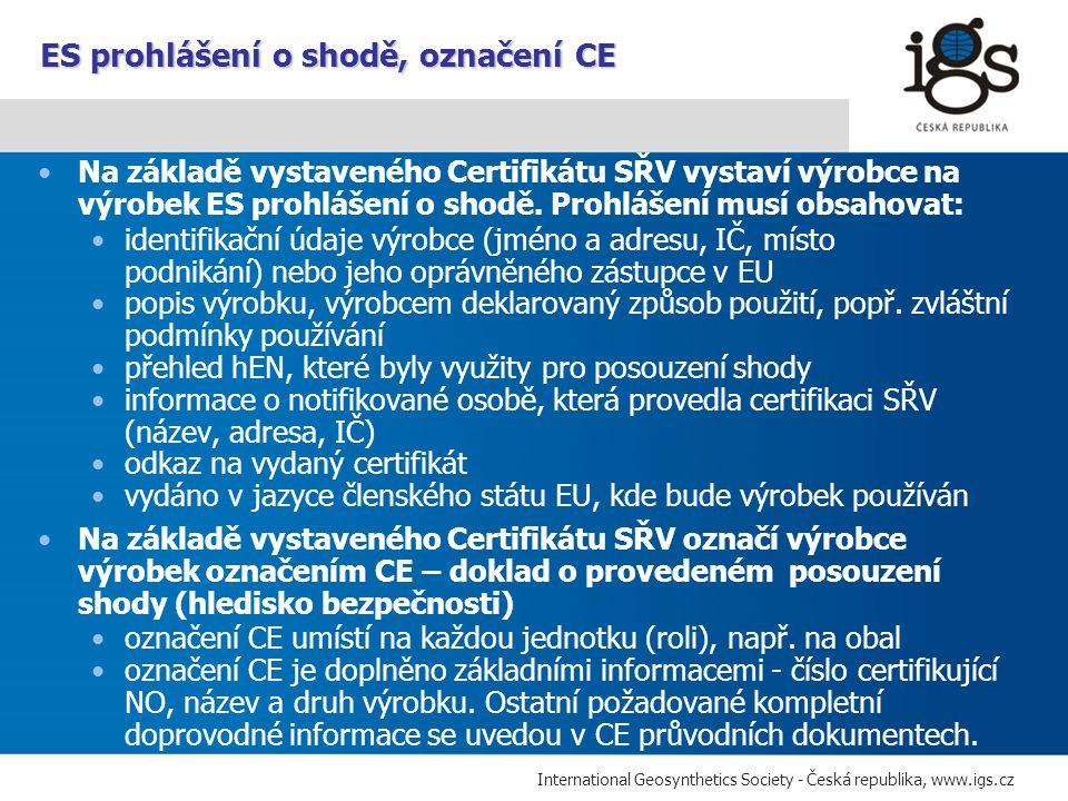 ES prohlášení o shodě, označení CE