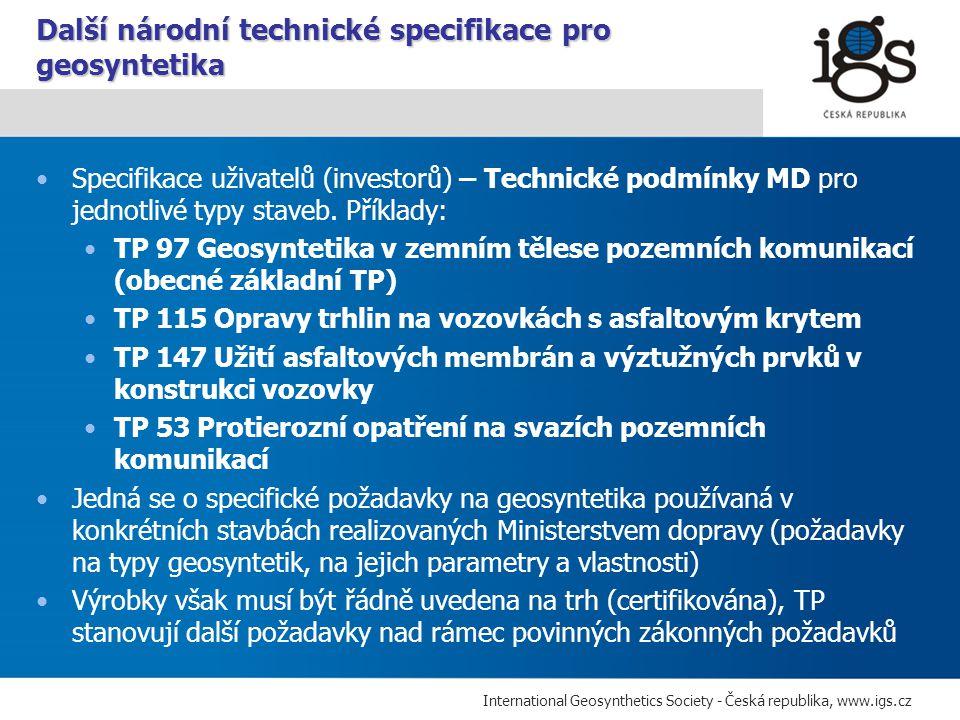 Další národní technické specifikace pro geosyntetika
