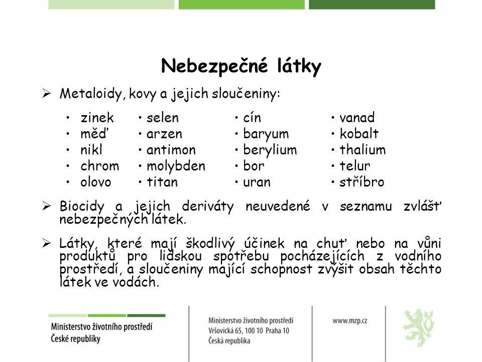 Nebezpečné látky Metaloidy, kovy a jejich sloučeniny: