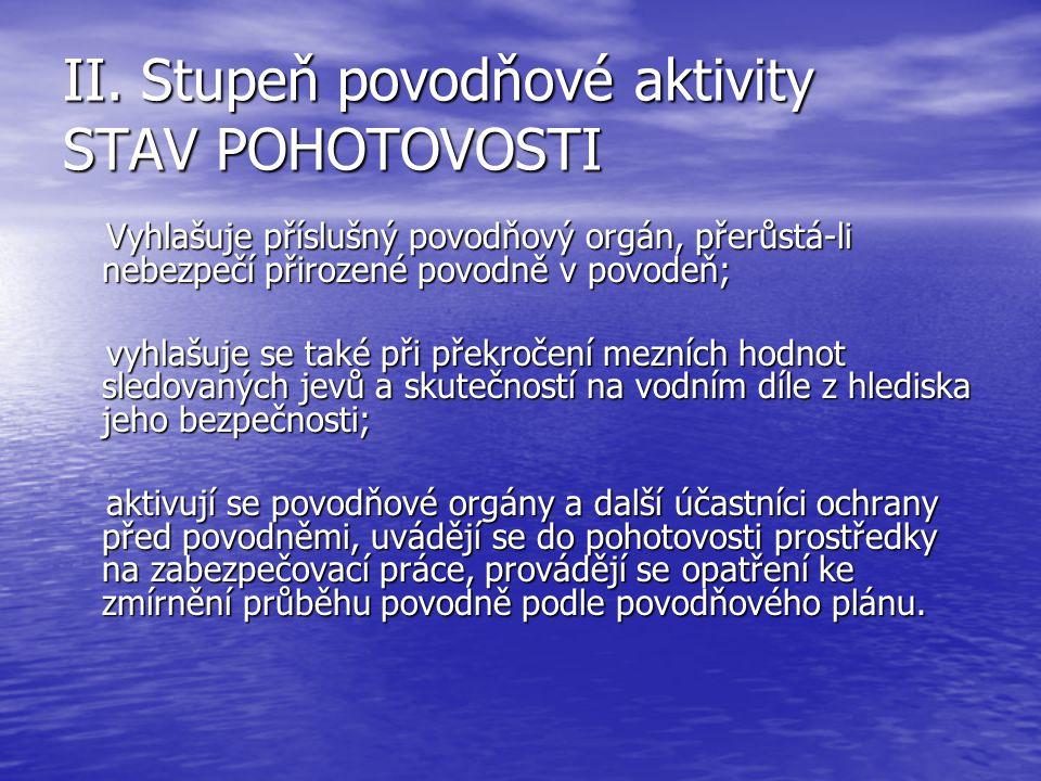 II. Stupeň povodňové aktivity STAV POHOTOVOSTI
