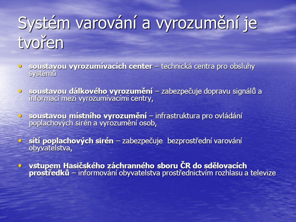 Systém varování a vyrozumění je tvořen