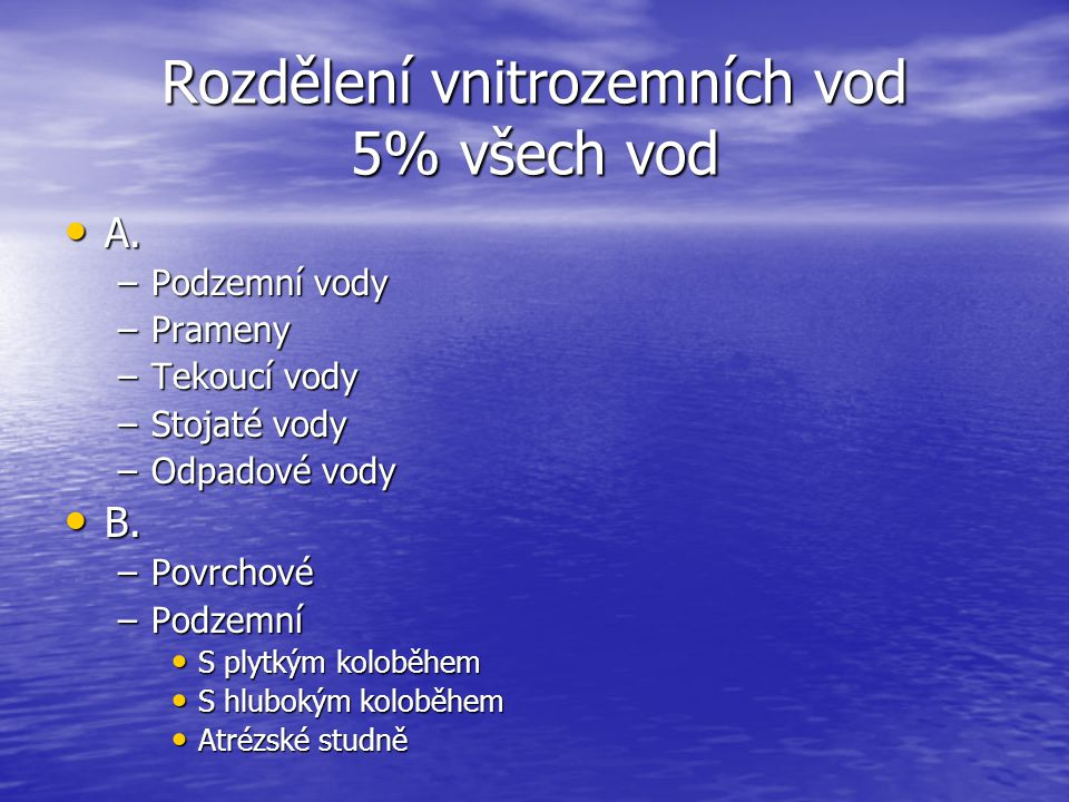 Rozdělení vnitrozemních vod 5% všech vod