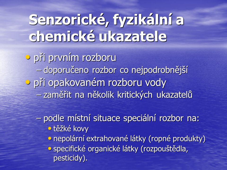 Senzorické, fyzikální a chemické ukazatele