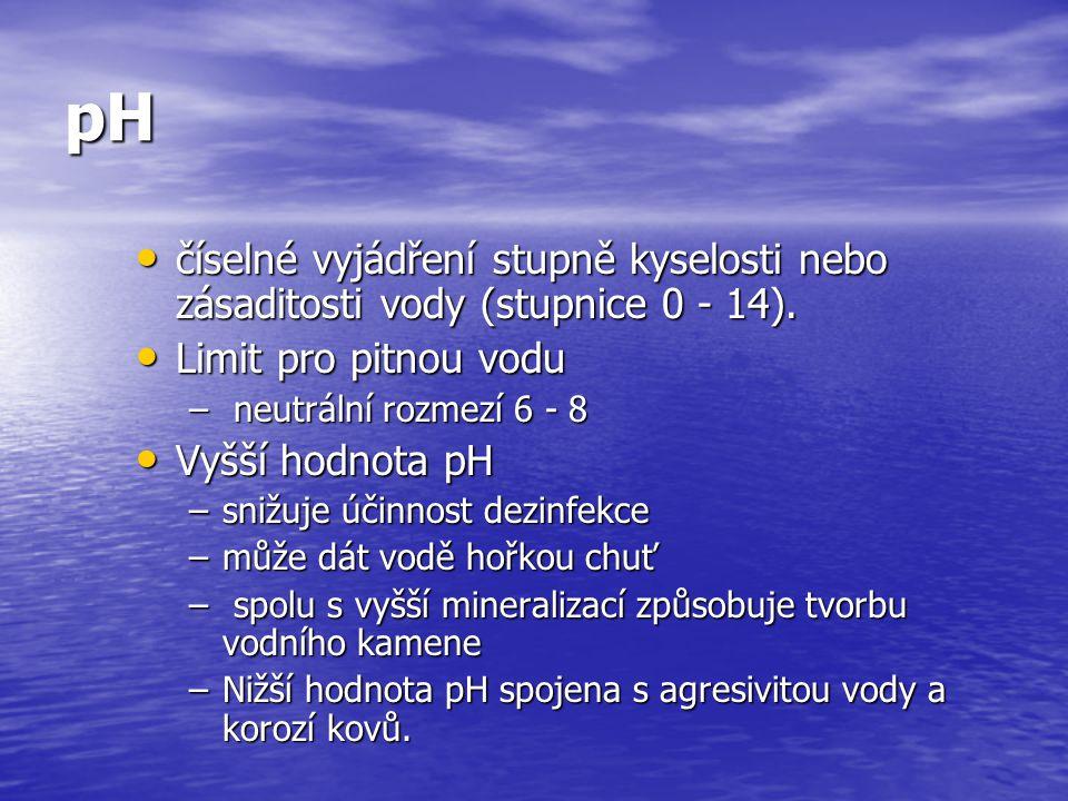 pH číselné vyjádření stupně kyselosti nebo zásaditosti vody (stupnice 0 - 14). Limit pro pitnou vodu.