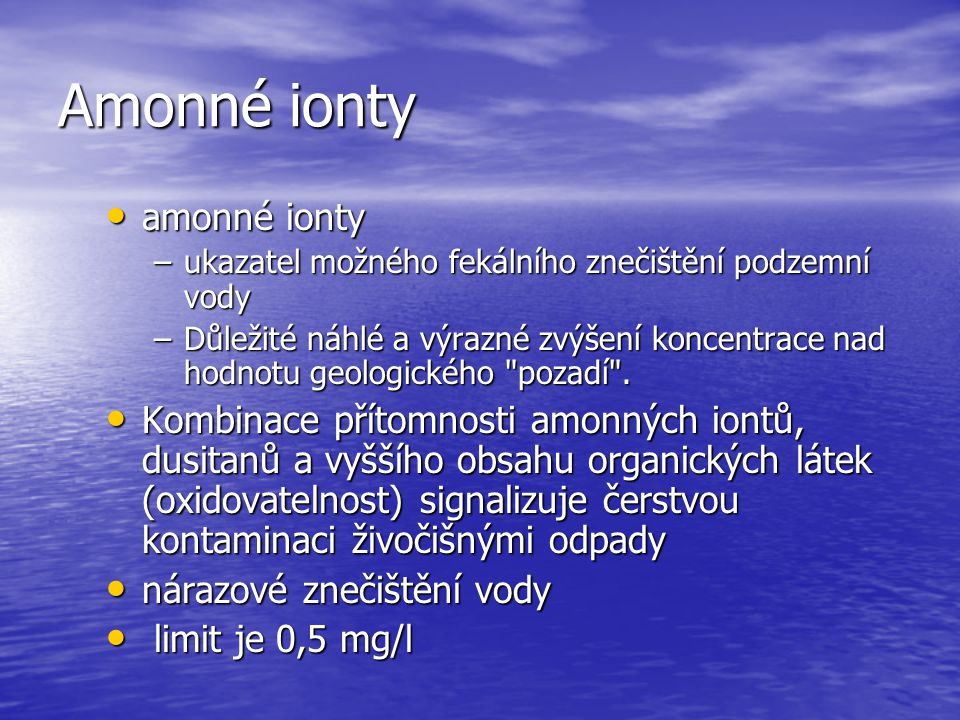 Amonné ionty amonné ionty