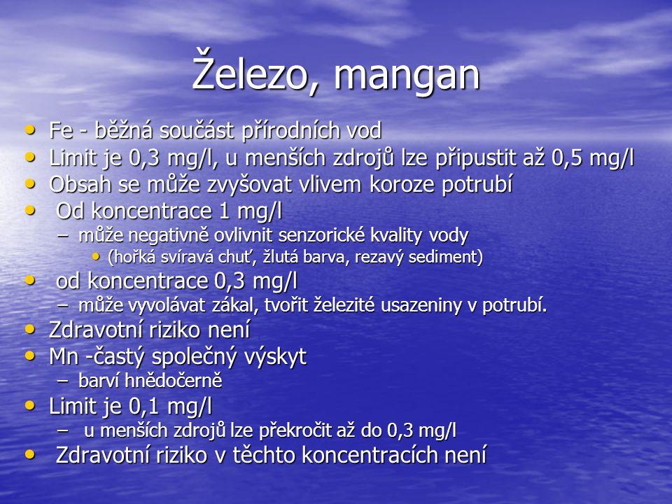 Železo, mangan Fe - běžná součást přírodních vod