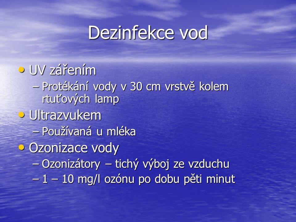 Dezinfekce vod UV zářením Ultrazvukem Ozonizace vody