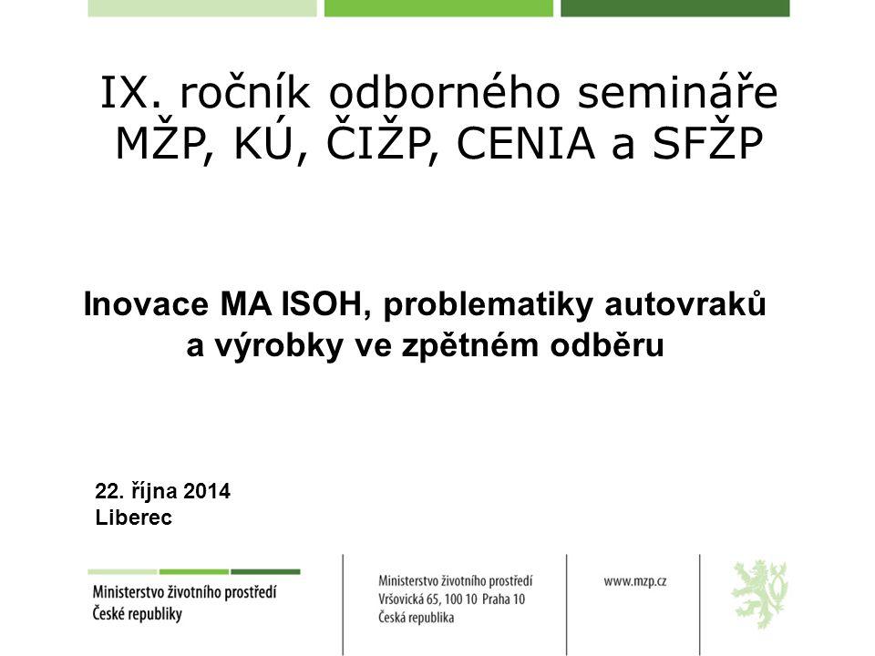 Inovace MA ISOH, problematiky autovraků a výrobky ve zpětném odběru