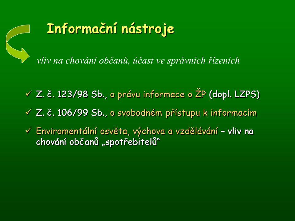 Informační nástroje vliv na chování občanů, účast ve správních řízeních. Z. č. 123/98 Sb., o právu informace o ŽP (dopl. LZPS)