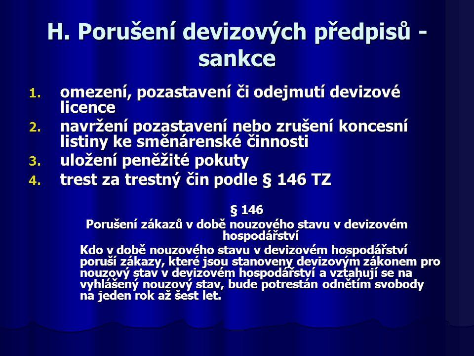 H. Porušení devizových předpisů - sankce