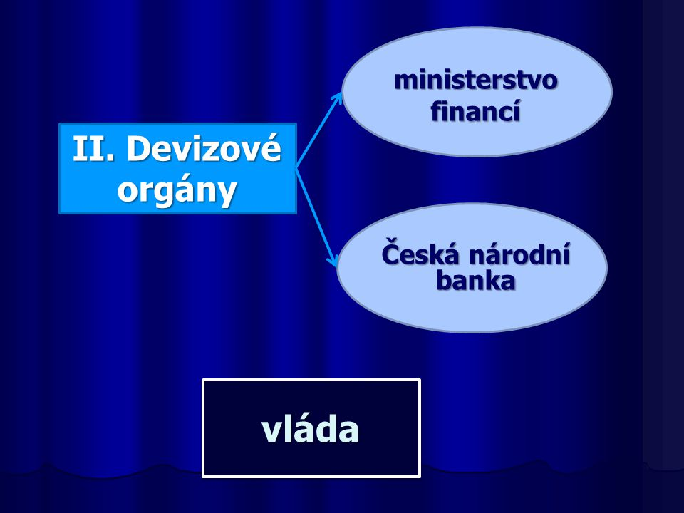 ministerstvo financí II. Devizové orgány Česká národní banka vláda