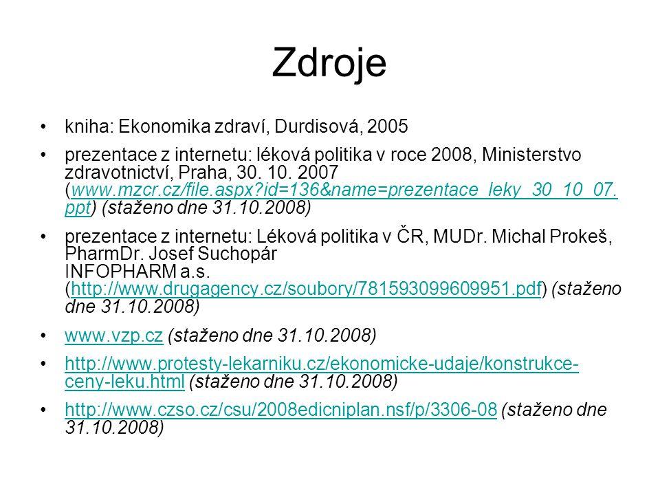 Zdroje kniha: Ekonomika zdraví, Durdisová, 2005
