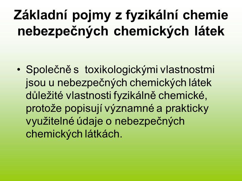 Základní pojmy z fyzikální chemie nebezpečných chemických látek