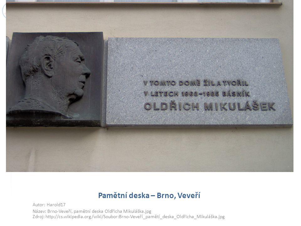 Pamětní deska – Brno, Veveří