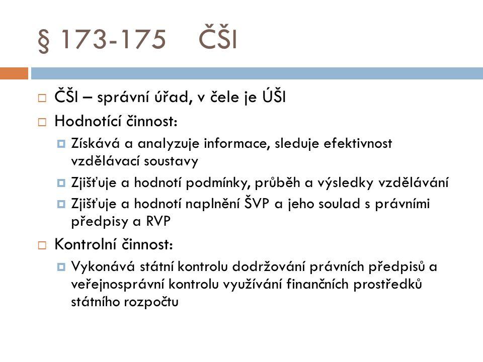 § 173-175 ČŠI ČŠI – správní úřad, v čele je ÚŠI Hodnotící činnost: