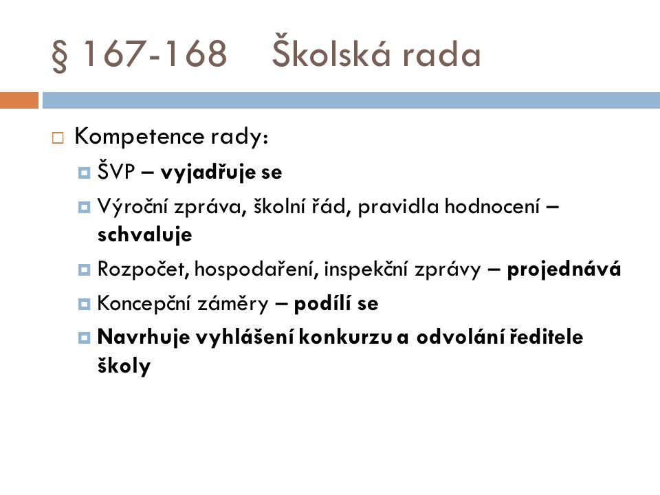 § 167-168 Školská rada Kompetence rady: ŠVP – vyjadřuje se