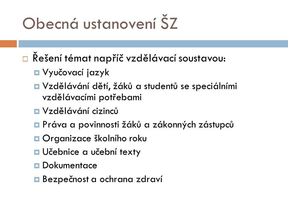 Obecná ustanovení ŠZ Řešení témat napříč vzdělávací soustavou:
