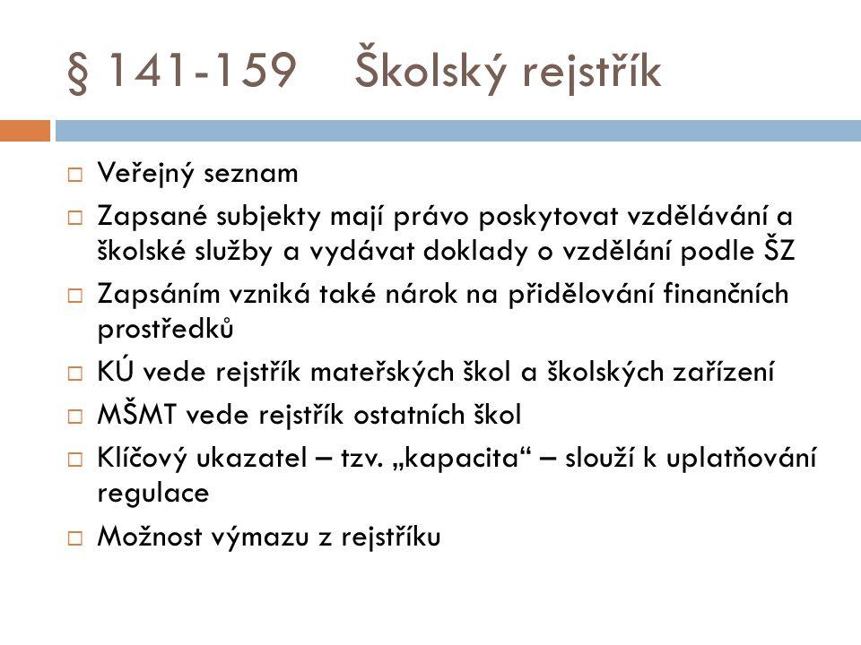 § 141-159 Školský rejstřík Veřejný seznam