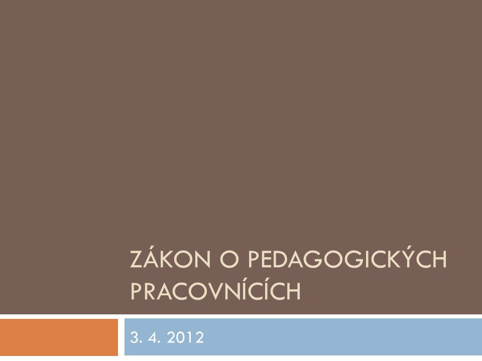 Zákon o pedagogických pracovnících