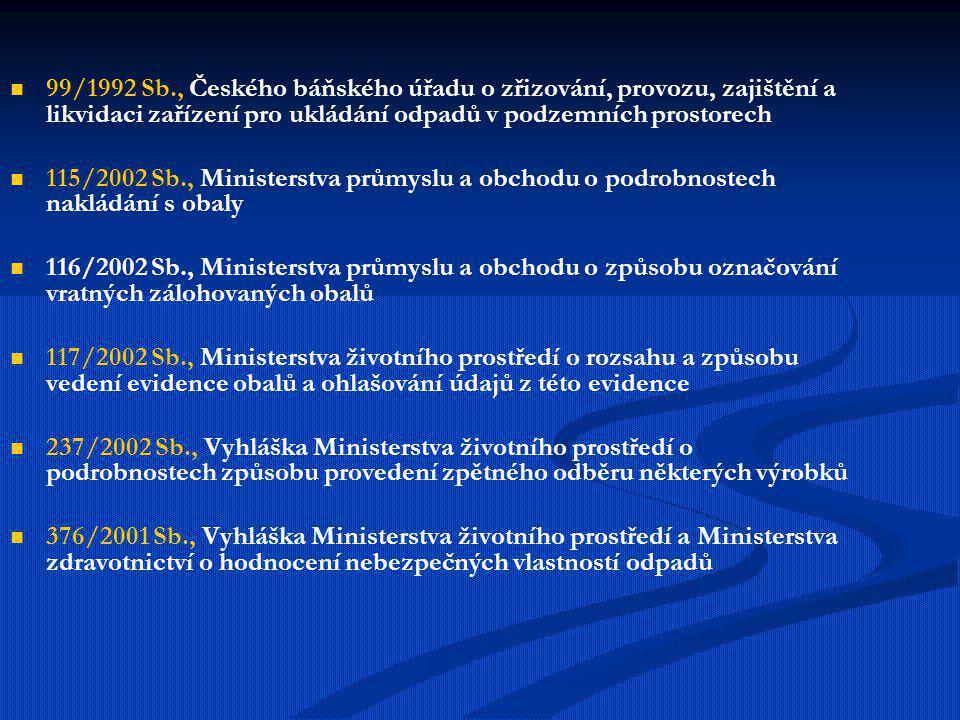 99/1992 Sb., Českého báňského úřadu o zřizování, provozu, zajištění a likvidaci zařízení pro ukládání odpadů v podzemních prostorech