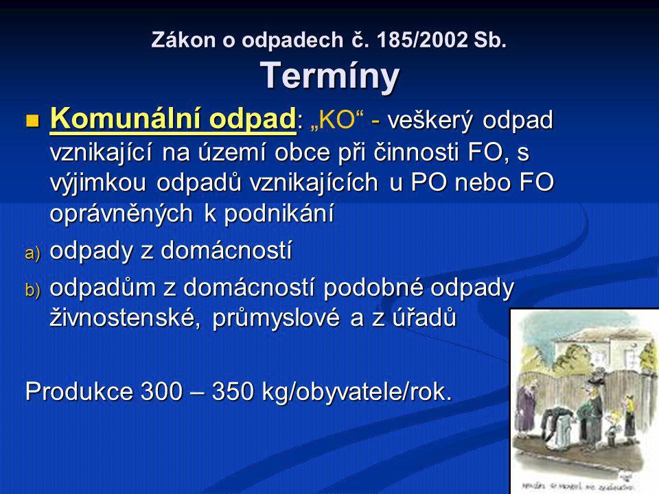 Zákon o odpadech č. 185/2002 Sb. Termíny