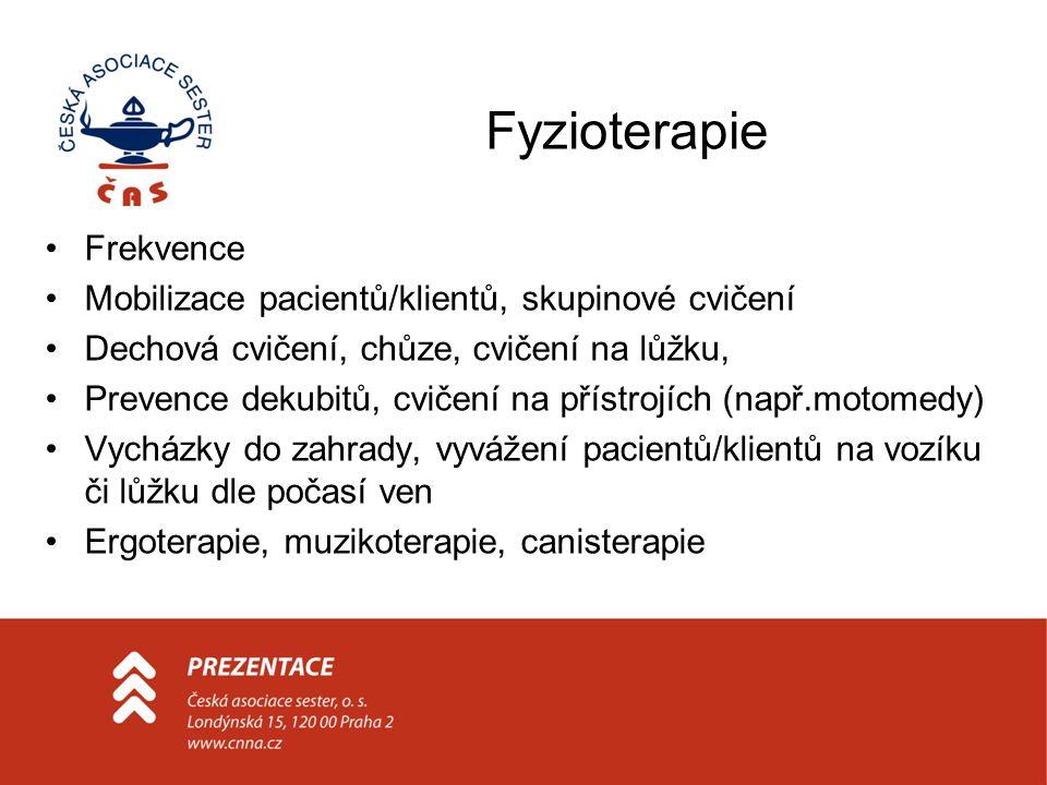 Fyzioterapie Frekvence Mobilizace pacientů/klientů, skupinové cvičení