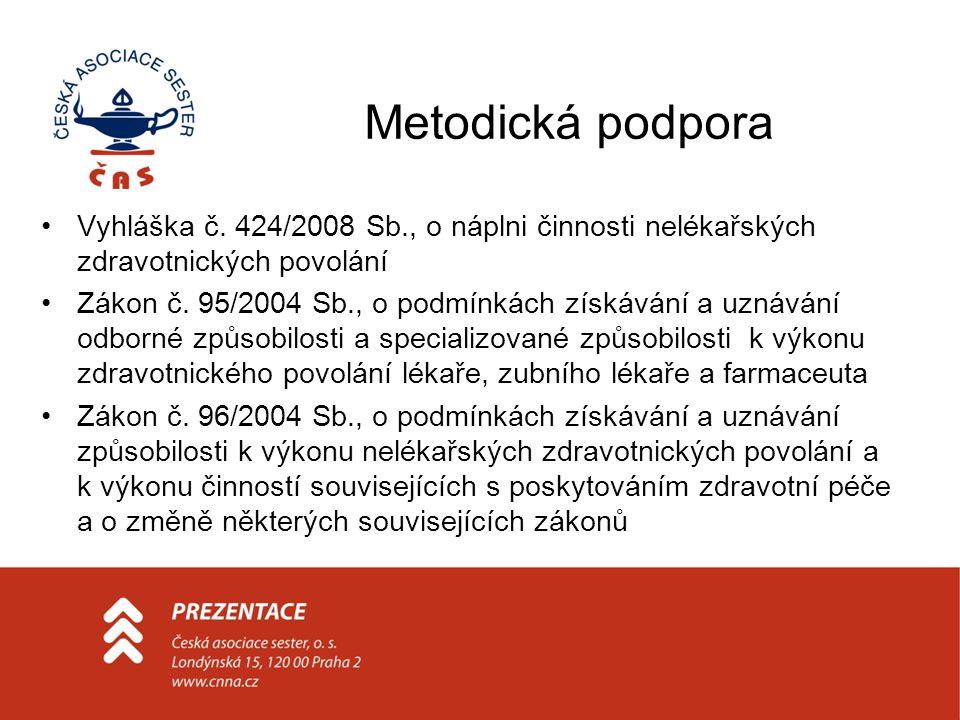 Metodická podpora Vyhláška č. 424/2008 Sb., o náplni činnosti nelékařských zdravotnických povolání.