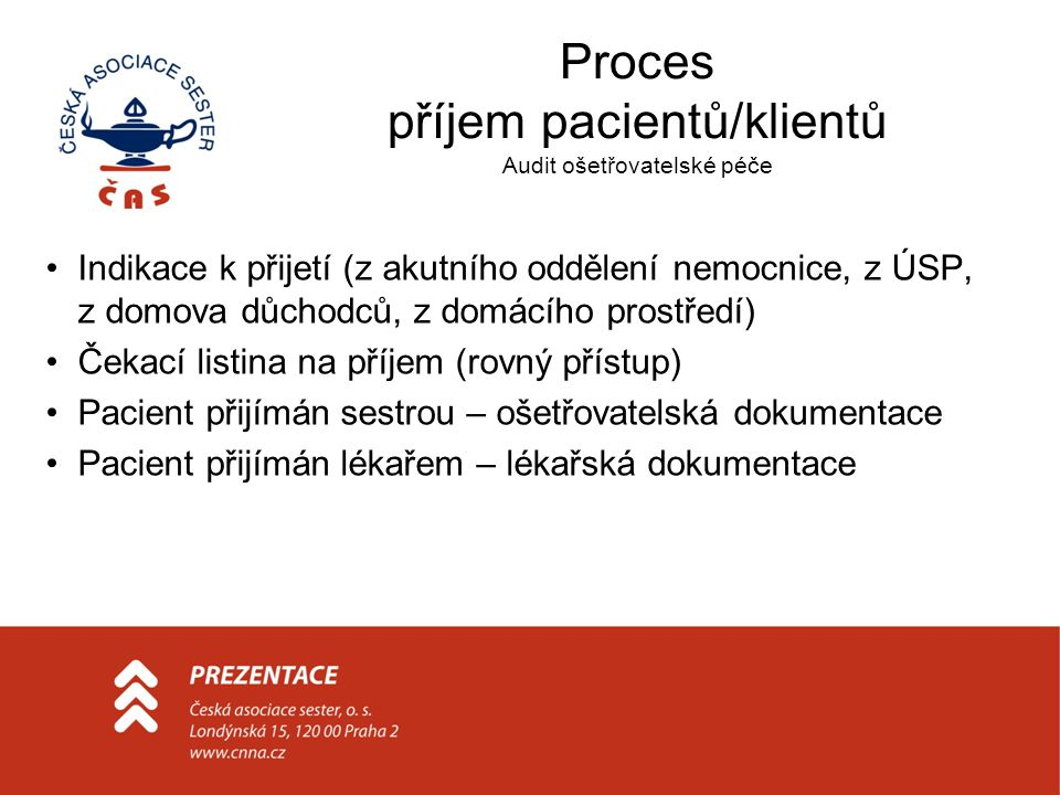 Proces příjem pacientů/klientů Audit ošetřovatelské péče