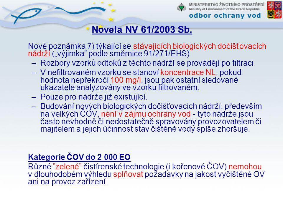 """Novela NV 61/2003 Sb. Nově poznámka 7) týkající se stávajících biologických dočišťovacích nádrží (""""výjimka podle směrnice 91/271/EHS)"""