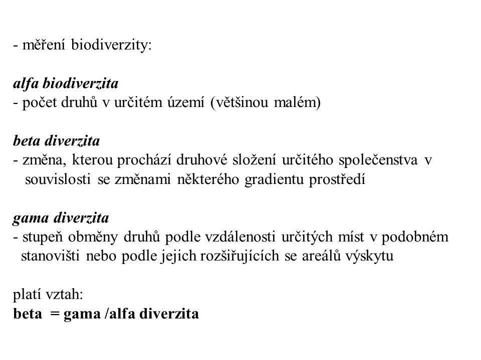 měření biodiverzity: alfa biodiverzita - počet druhů v určitém území (většinou malém) beta diverzita - změna, kterou prochází druhové složení určitého společenstva v souvislosti se změnami některého gradientu prostředí gama diverzita - stupeň obměny druhů podle vzdálenosti určitých míst v podobném stanovišti nebo podle jejich rozšiřujících se areálů výskytu platí vztah: beta = gama /alfa diverzita