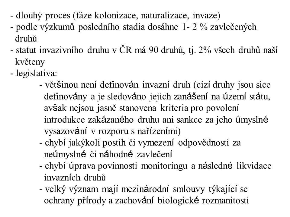 dlouhý proces (fáze kolonizace, naturalizace, invaze) - podle výzkumů posledního stadia dosáhne 1- 2 % zavlečených druhů - statut invazivního druhu v ČR má 90 druhů, tj.