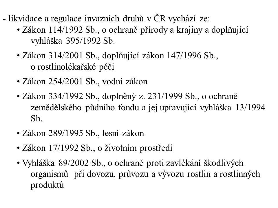 - likvidace a regulace invazních druhů v ČR vychází ze: