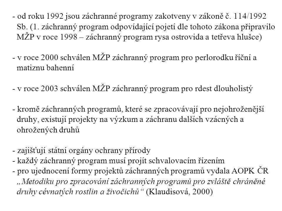 od roku 1992 jsou záchranné programy zakotveny v zákoně č. 114/1992 Sb