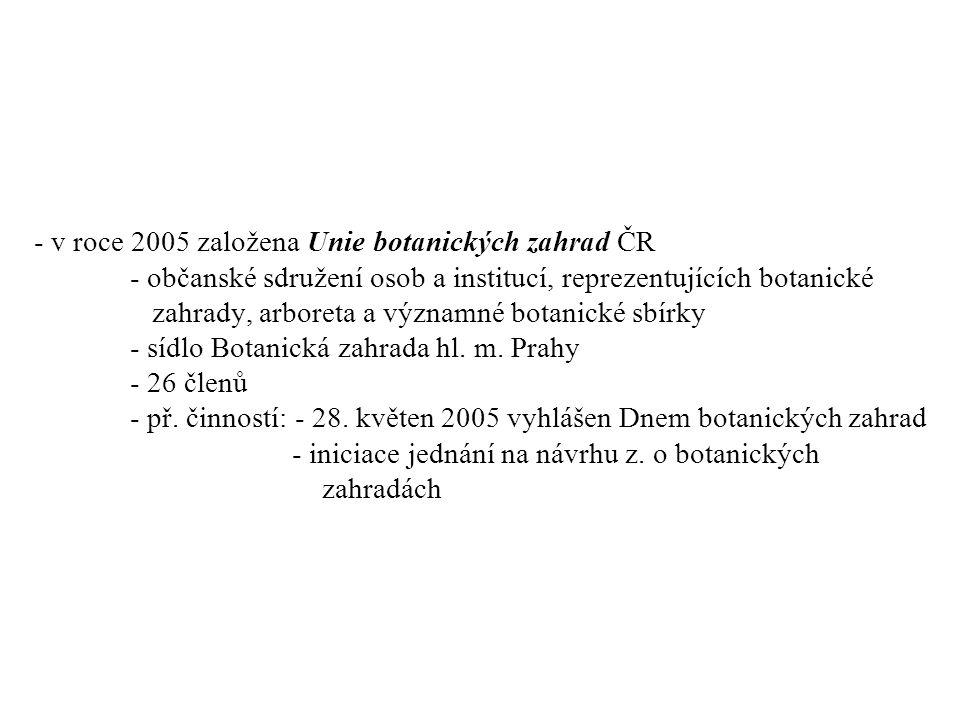 - v roce 2005 založena Unie botanických zahrad ČR