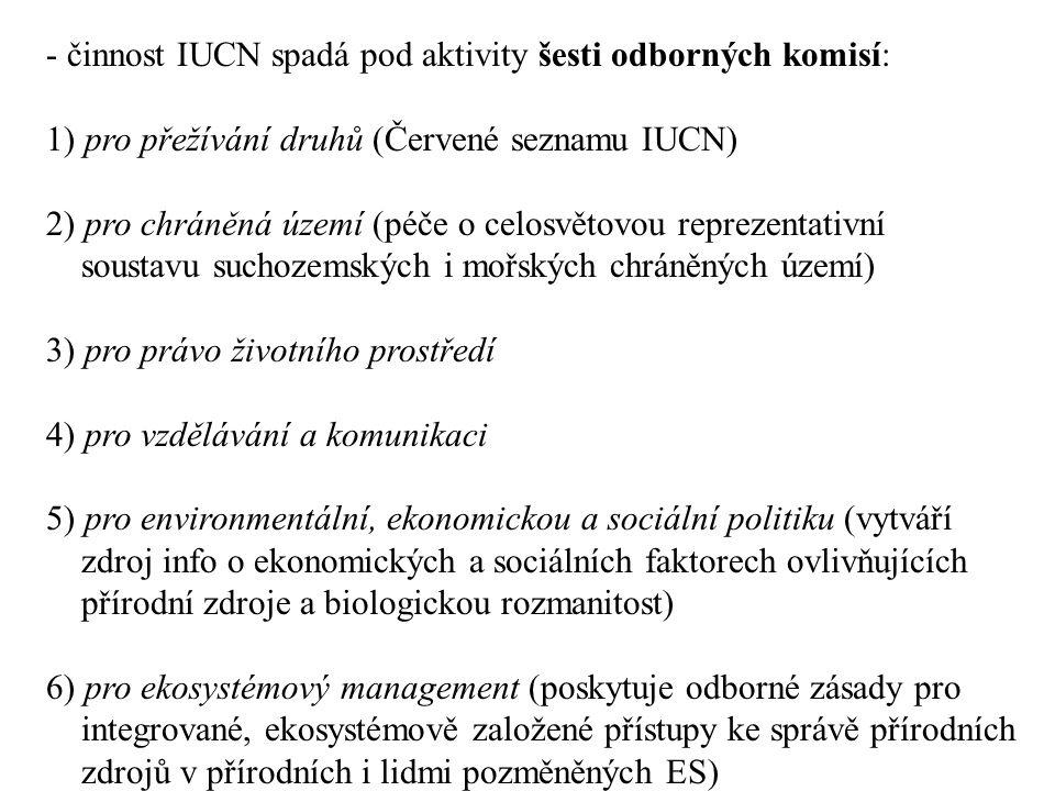 - činnost IUCN spadá pod aktivity šesti odborných komisí:
