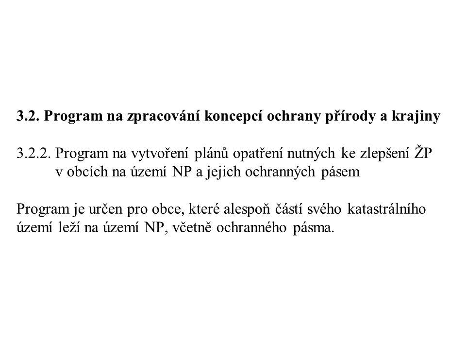 3. 2. Program na zpracování koncepcí ochrany přírody a krajiny 3. 2. 2