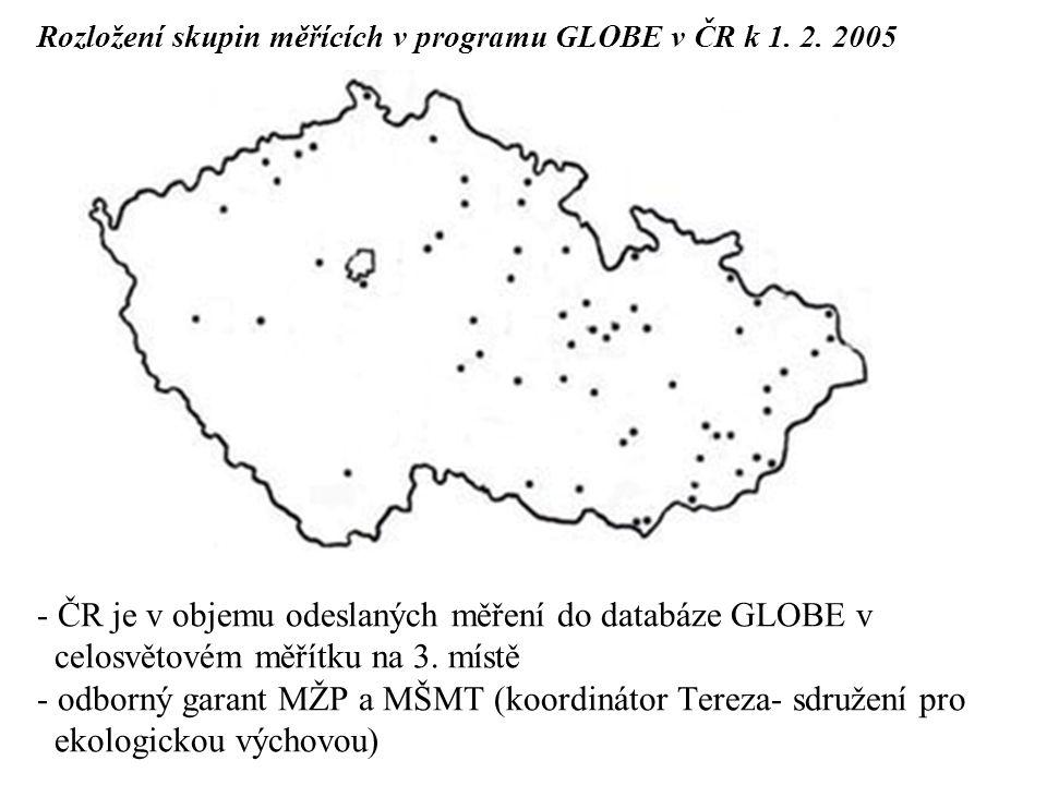 Rozložení skupin měřících v programu GLOBE v ČR k 1. 2