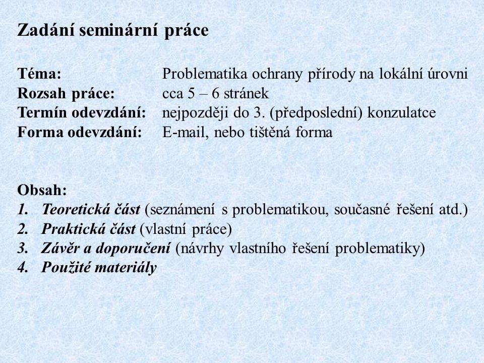 Zadání seminární práce