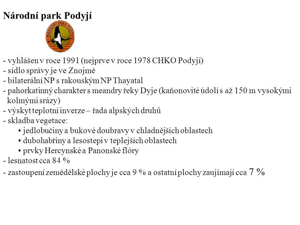 Národní park Podyjí - vyhlášen v roce 1991 (nejprve v roce 1978 CHKO Podyjí) - sídlo správy je ve Znojmě.
