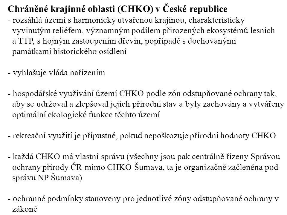 Chráněné krajinné oblasti (CHKO) v České republice