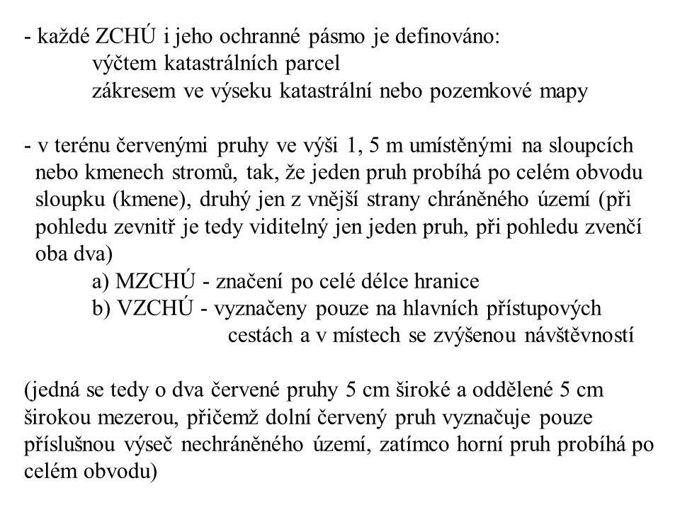 každé ZCHÚ i jeho ochranné pásmo je definováno: