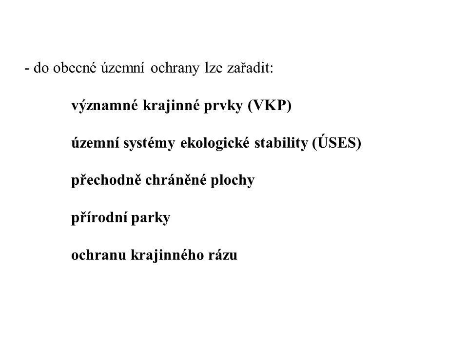 do obecné územní ochrany lze zařadit:. významné krajinné prvky (VKP)