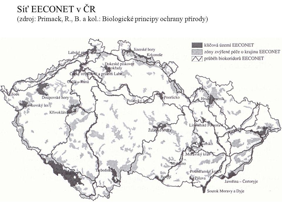 Síť EECONET v ČR (zdroj: Primack, R. , B. a kol
